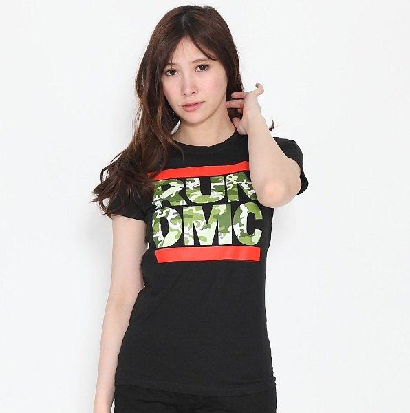"""RUN DMC / ランディーエムシー """"カモフラ ロゴ"""" レディース Tシャツ"""
