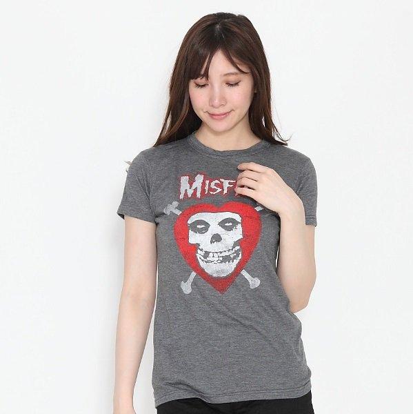 """MISFITS / ミスフィッツ """"グレー ヴィンテージタイプ"""" レディース Tシャツ"""