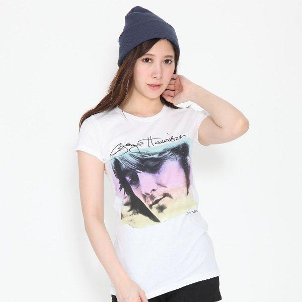George Harrison / ジョージ・ハリスン フォト ホワイト レディース Tシャツ