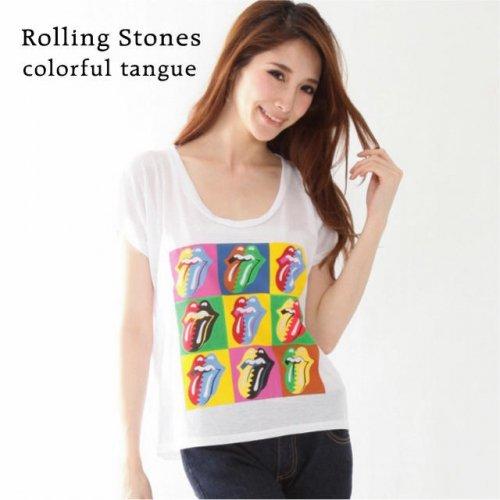 """The Rolling Stones / ローリング・ストーンズ """"カラフル ベロマーク"""" ホワイト レディース Tシ…"""