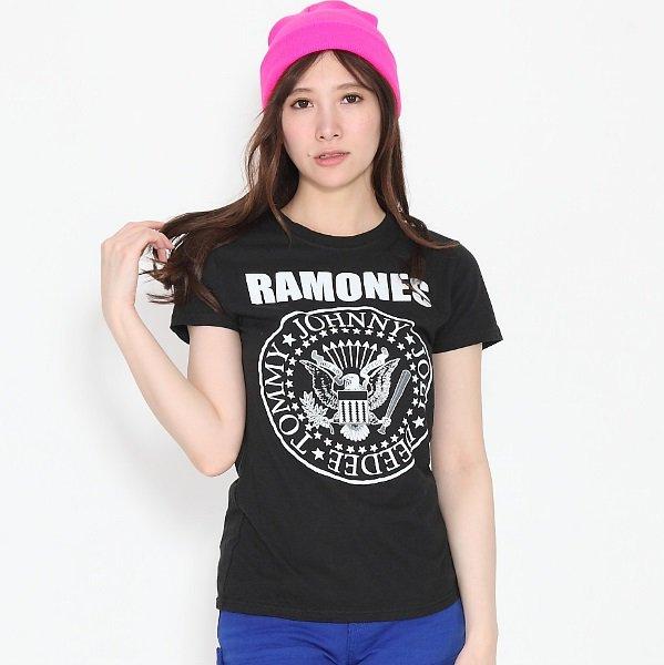 RAMONES / ラモーンズ Seal Marky ブラック  レディース Tシャツ