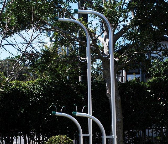 横幅50センチ高さ2M!アルミ物干し台ESF-LONGシルバ(左右2個=1セット分) +ベース付きセット