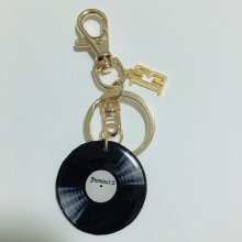 【Jumina 13】レコード× ナンバー13 キーホルダー (片面ペイズリー赤) 【手作り・LOCOSOUL限定ver】