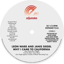 [9月下旬] LEON WARE AND JANIS SIEGEL - WHY I CAME TO CALIFORNIA / CAN I TOUCH YOU THERE[12inch]