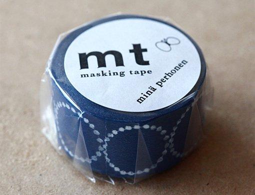 New Masking Tape Mina perhonen tambourine petit · navy width 25mm