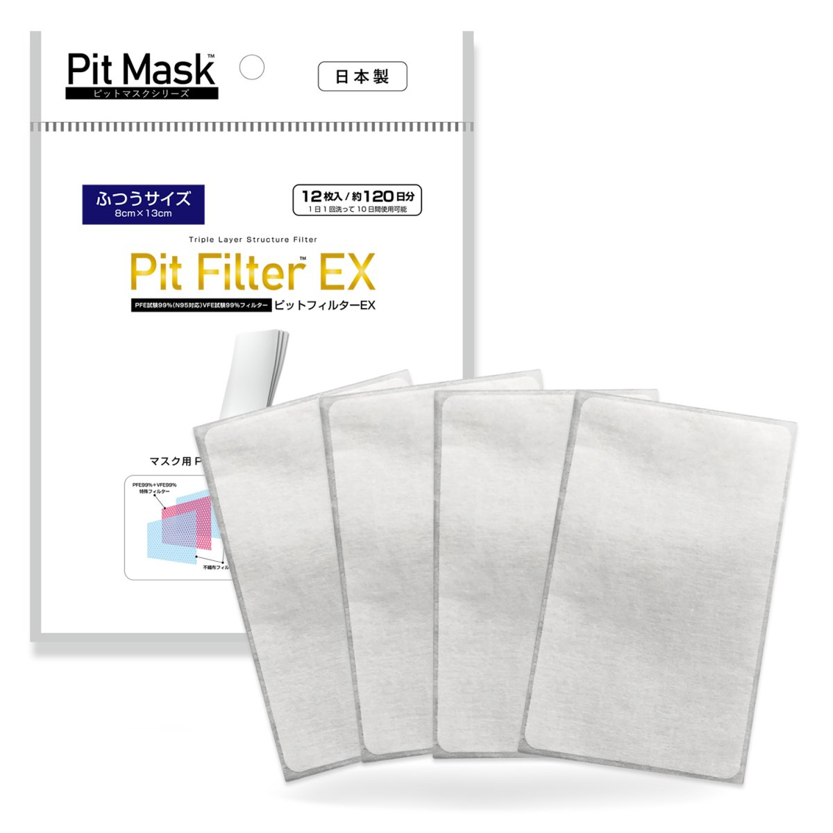 ピットフィルターEX 【N95対応|PFE99%|VFE99%】マスク用高機能フィルター