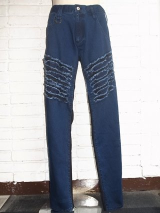 【KiryuyriK/キリュウキリュウ】Slash Damage Pants (Indigo/Black Jersey)