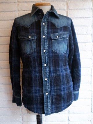 【AYUITE/アユイテ】インディゴキルト バイカラーシャツジャケット (INDIGO)
