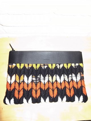 【yoshio kubo/ヨシオクボ】ARROW TWEED CLUTCH BAG (ORANGE)