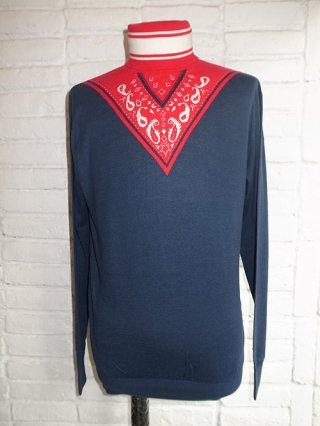【yoshio kubo/ヨシオクボ】BANDANA SWEATER (NAVY)