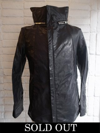 【incarnation】BUFFALO LEATHER HOODED ZIP BLOUSON ZIP SLEEVE 1/4 W/CO LINED (BLACK)