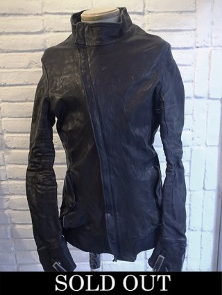 【incarnation/インカネーション】HORSE LEATHER H/N BIAS ZIP/F BLOUSON W/F.PKT WITH GLOVES LINED (NAVY)