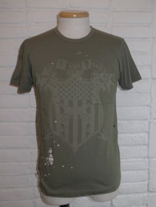 "【roar/ロアー】""SHIELD PISTOL"" LASER PRINT DAMAGE T-SHIRTS (KHAKI)"