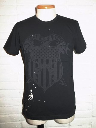 "【roar/ロアー】""SHIELD PISTOL"" LASER PRINT DAMAGE T-SHIRTS (BLACK)"