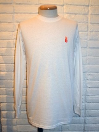 <font color=red>30%OFF</font>【SUPERTHANKS/スーパーサンクス】パイナップル刺繍LONG SLEEVE T-SHIRTS (WHITE/ORANGE)
