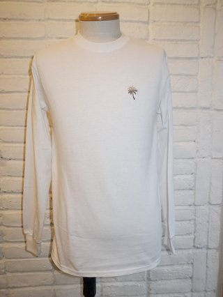 【SUPERTHANKS/スーパーサンクス】ヤシの木刺繍LONG SLEEVE T-SHIRTS (WHITE/GRAY)