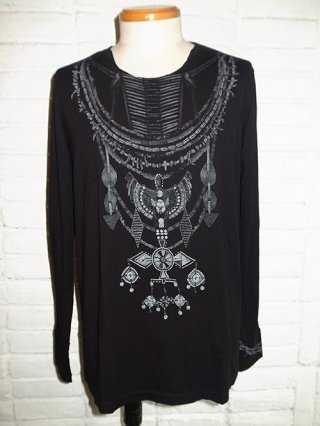 【14th Addiction】MASAI LS B/W SHIRT (BLACK)