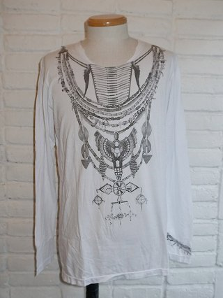 【14th Addiction】MASAI LS B/W SHIRT (WHITE)