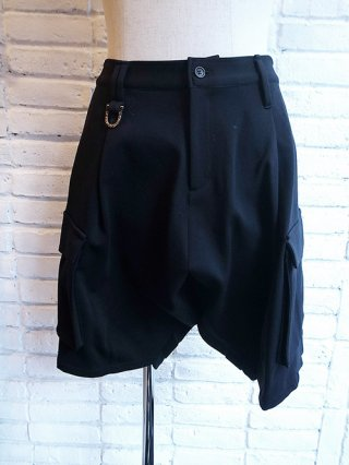 【kiryuyrik/キリュウキリュウ】Nylon Jersey Sarouel Short Cargo Pants (Black)
