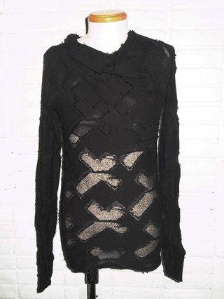 【kiryuyik/キリュウキリュウ】Drape Neck T-Shirts (Black)