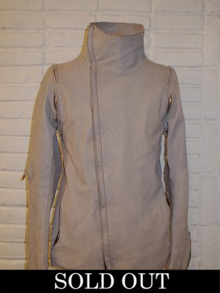 【incarnation/インカネーション】CALF LEATHER HIGHNECK BIAS ZIP BLOUSON ELASTIC A/P WITH ZIP LINED (Lt.Gray)