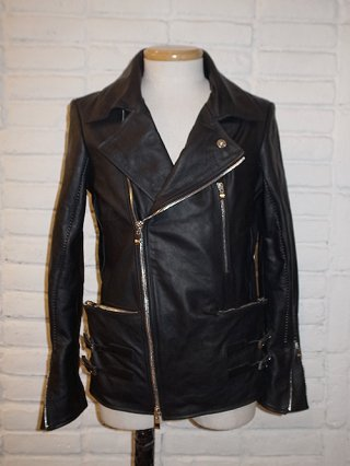 【incarnation/インカネーション】HORSE LEATHER DOUBLE BREAST MOTO W/POCKET LINED (BLACK)