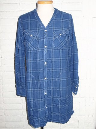 【AYUITE/アユイテ】インディゴチェックネル ロングカーデシャツ (BLUE)