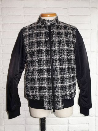 <font color=red>30%OFF</font>【roar】LAME CHECK TWEED × NYLON TWILL BLOUSON (SILVER × BLACK)