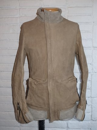 【incarnation/インカネーション】HORSE LEATHER BIAS ZIP RIB BLOUSON W/PKT LINED (BEIGE)