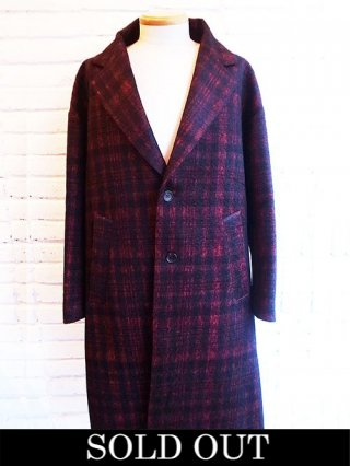 【DIET BUTCHER SLIM SKIN】Wool over size coat (RED CHECK MOHAIR)