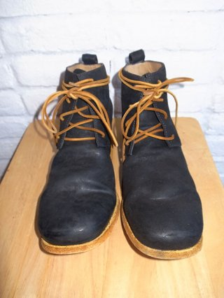 【incarnation】HORSE BUTT 4 HOLE ANCLE LINED LEATHER SOLES BOOTS (GRAY×YELLOW)