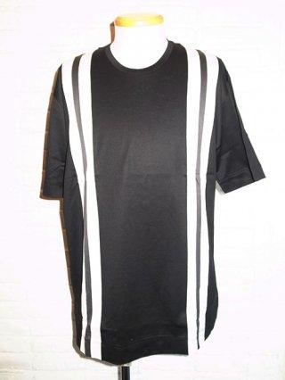 【GalaabenD/ガラアーベント】プライマリー天竺 ストライプルーズTシャツ(BLACK×O.WHITE×GRAY)
