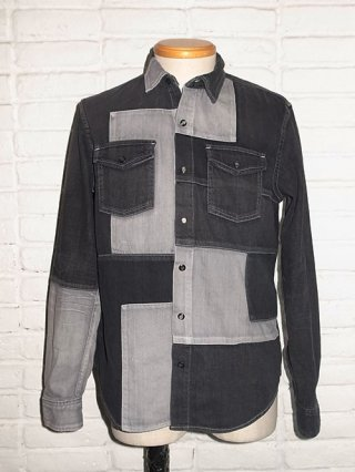 <img class='new_mark_img1' src='//img.shop-pro.jp/img/new/icons8.gif' style='border:none;display:inline;margin:0px;padding:0px;width:auto;' />【roar/ロアー】8oz SLAB DENIM PATCHWORK SHIRTS (BLACK)