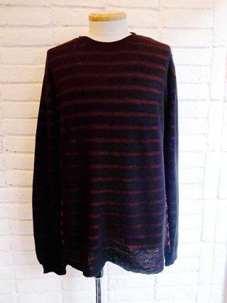 【DIET BUTCHER SLIM SKIN】Border knit pullover (BLACK×RED)
