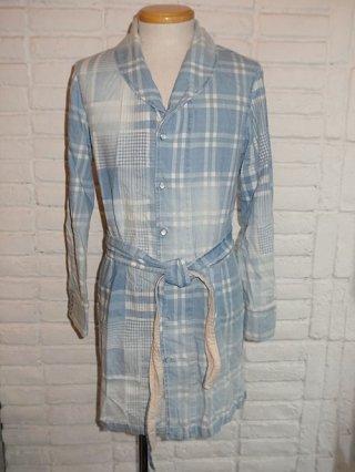 【AYUITE/アユイテ】インディゴモノチェック ショールカラーロングシャツ(BLUE USED)