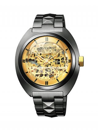 <img class='new_mark_img1' src='https://img.shop-pro.jp/img/new/icons8.gif' style='border:none;display:inline;margin:0px;padding:0px;width:auto;' />【DRESSCAMP×INDEPENDENT】STUDS SKELETON WATCH (BLACK)
