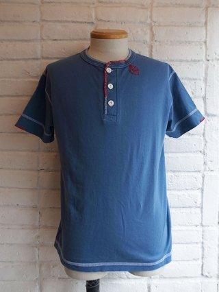 【AYUITE/アユイテ】ハンド刺繍ジャージ 半袖ヘンリーネックTシャツ (BLUE)