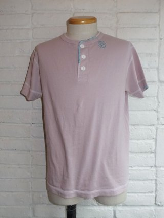 【AYUITE/アユイテ】ハンド刺繍ジャージ 半袖ヘンリーネックTシャツ (PINK)