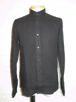 【QL Mansion Maker/キューエル】STAND COLLAR DRESS SHIRTS (BLACK)