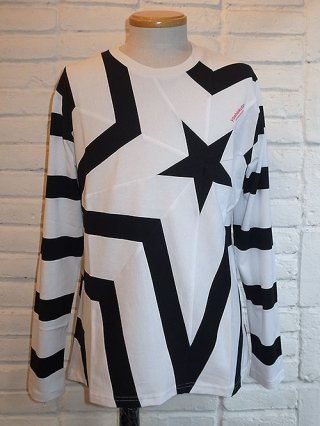 【yoshiokubo/ヨシオクボ】STAR LONG SLEEVE T (WHT-BLK)