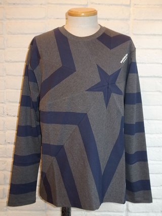 【yoshiokubo/ヨシオクボ】STAR LONG SLEEVE T (GRY-NVY)
