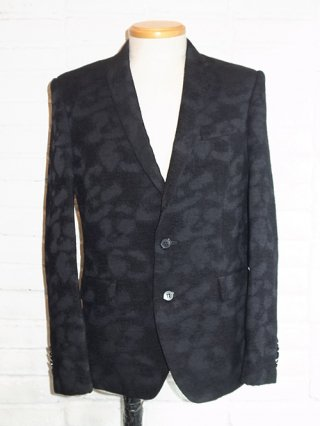 【DIET BUTCHER SLIM SKIN/ダイエットブッチャースリムスキン】Leopard asymmetry collar jacket (BLACK LEOPARD)