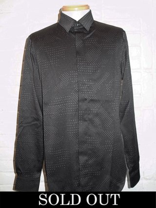 【roarguns/ロアー】CAMOUFLAGE CROSSDOT SATIN SHIRTS (BLACK)