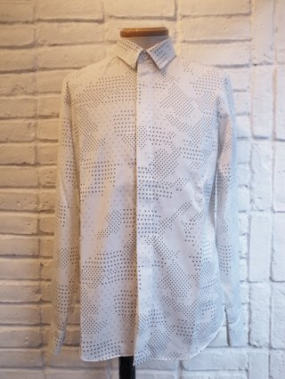 【roarguns/ロアー】CAMOUFLAGE CROSSDOT SATIN SHIRTS (WHITE)