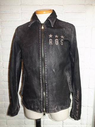 【roarguns/ロアーガンズ】COW LEATHER SHINGLE BLOUSON (BLACK)