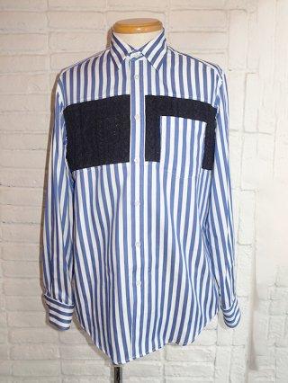 【COOHEM/コーヘン】AUTUMN ARAN KNIT ストライプシャツ (BLUE)