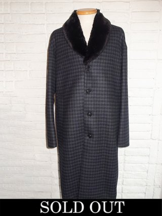 【DIET BUTCHER SLIM SKIN/ダイエットブッチャースリムスキン】Fur bench coat (CHARCOAL CHECK)
