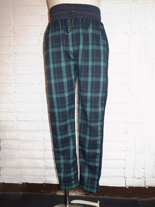 【SUPERTHANKS/スーパーサンクス】VELVET LINE PANTS (GREEN check/NV)