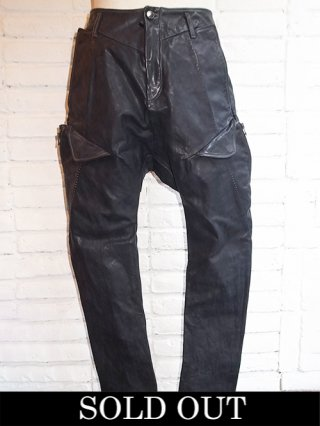【incarnation/インカネーション】CALF LEATHER PANTS SARROUEL CARGO UNLINED (BLACK)