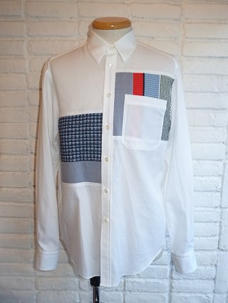 【COOHEM/コーヘン】TWEED PATCHWORK SHIRT (WHITE)